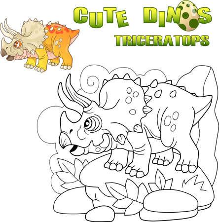 cartoon cute prehistoric dinosaur Triceratops, funny illustration