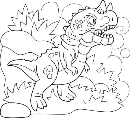 cartoon prehistoric dinosaur carnotaurus, coloring book, funny illustration Banco de Imagens - 127460580