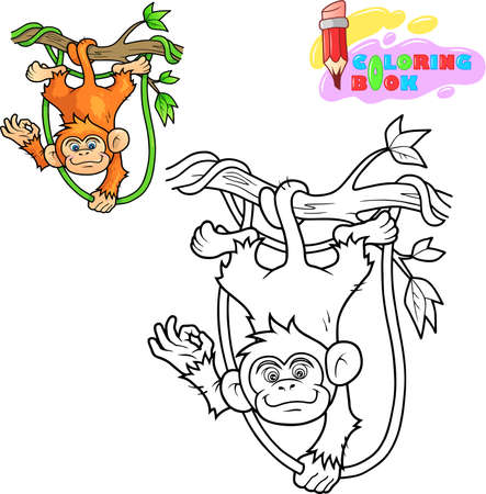 kleine cartoon schattige aap kleurboek grappige illustratie