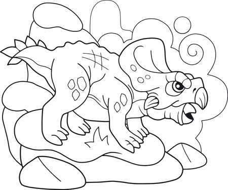 cartoon prehistoric dinosaur protoceratops, coloring book, funny illustration
