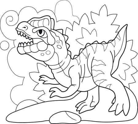 cartoon cute prehistoric dinosaur dilophosaurus coloring book funny illustration