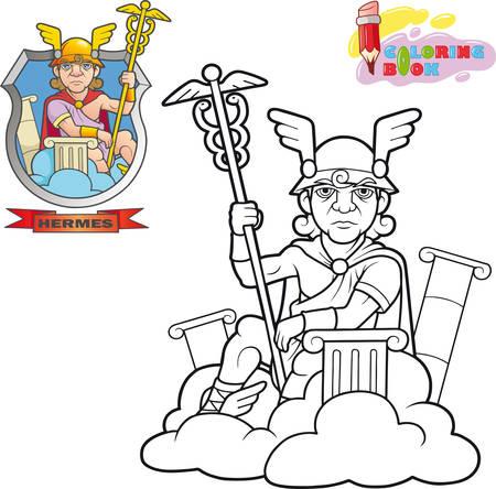 cartoon ancient greek god hermes, coloring book, funny illustration Иллюстрация