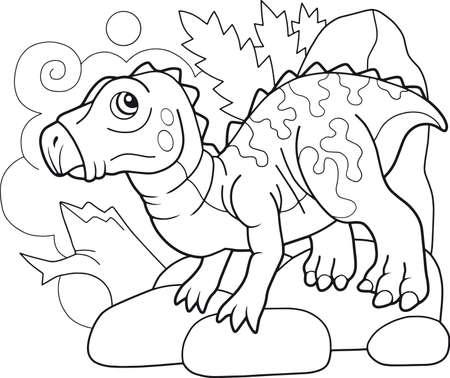 cartoon cute prehistoric dinosaur iguanodon coloring book, funny illustration Ilustrace