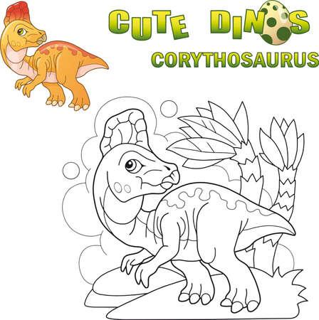 cartoon cute prehistoric dinosaur corythosaurus, funny illustration