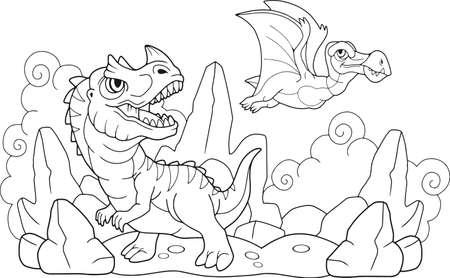 cartoon funny prehistoric dinosaurs, coloring book, funny illustration