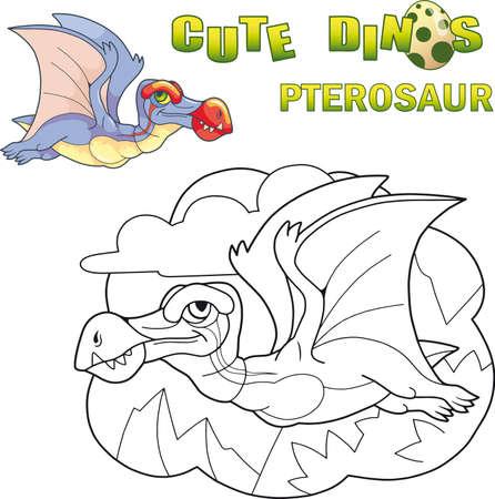 cartoon cute prehistoric dinosaur pterosaur, funny illustration Ilustrace