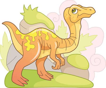 cartoon cute prehistoric dinosaur gallimimus, funny illustration