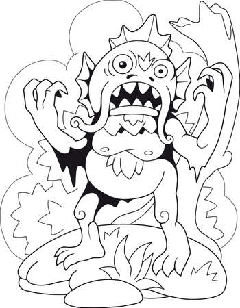 cartoon scary swamp monster, coloring book, funny illustration Çizim