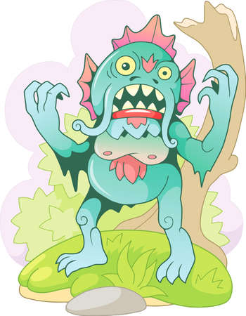 cartoon scary swamp monster, funny illustration