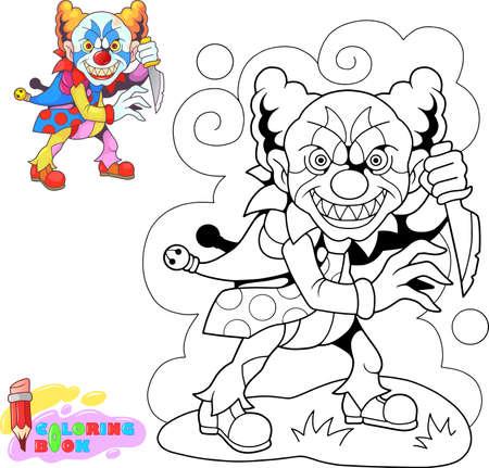kreskówka straszny potwór klauna z nożem, zabawna ilustracja