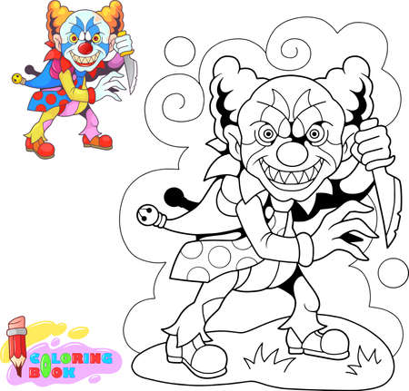Monstruo de payaso aterrador de dibujos animados con cuchillo, ilustración divertida
