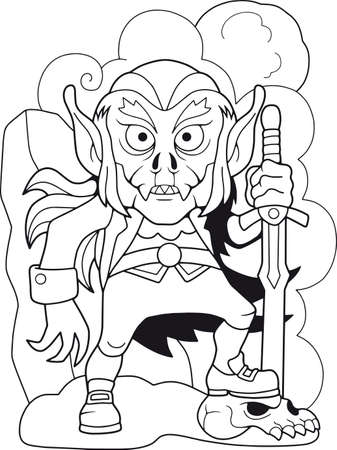 cartoon angry vampire with a sword, funny illustration