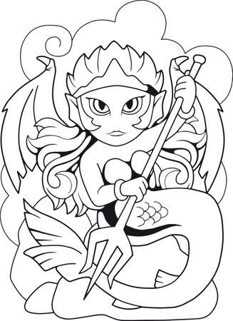 cartoon mermaid with a trident in his hands, coloring book, funny illustration