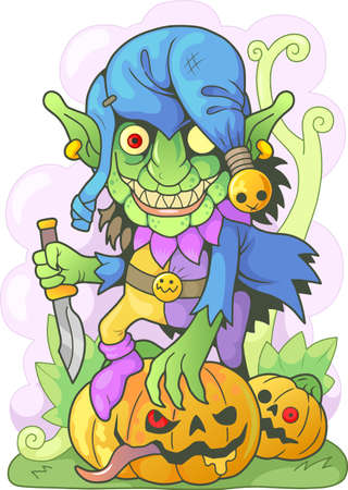 cartoon angry goblin with a knife in his hand, funny illustration Ilustrace