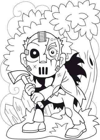 cartoon angry maniac, coloring book, funny illustration
