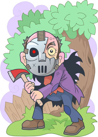 cartoon angry maniac with an ax in his hands, funny illustration Фото со стока - 137966516