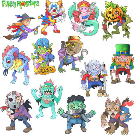 cartoon cute monsters, set of images, funny illustrations Фото со стока - 137966519