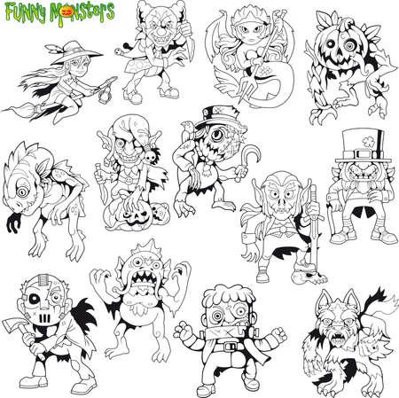 monstruos lindos de dibujos animados, conjunto de imágenes, ilustraciones divertidas Ilustración de vector