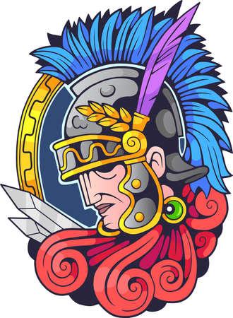 cartoon antique greek warrior in helmet, illustration design