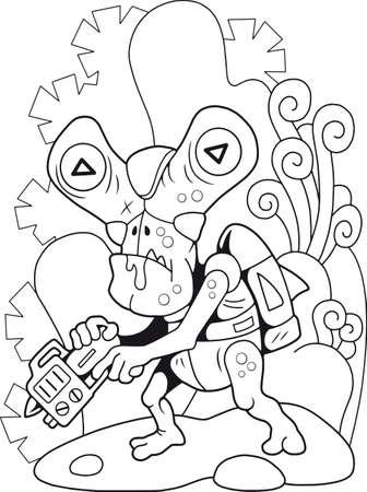 cartoon cute alien, coloring book, funny illustration