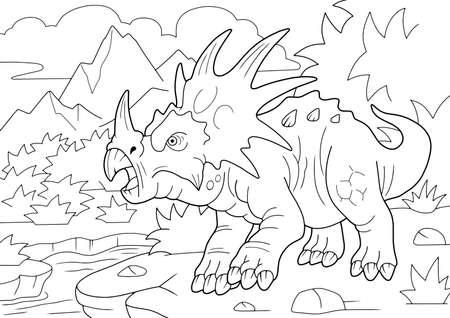 prehistoric horned dinosaur styracosaurus, coloring book, funny illustration Vektoros illusztráció