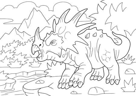 prehistoryczny rogaty dinozaur styrakozaur, kolorowanka, zabawna ilustracja Ilustracje wektorowe
