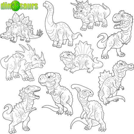 set of cartoon prehistoric dinosaurs, coloring book, funny illustration Vectores