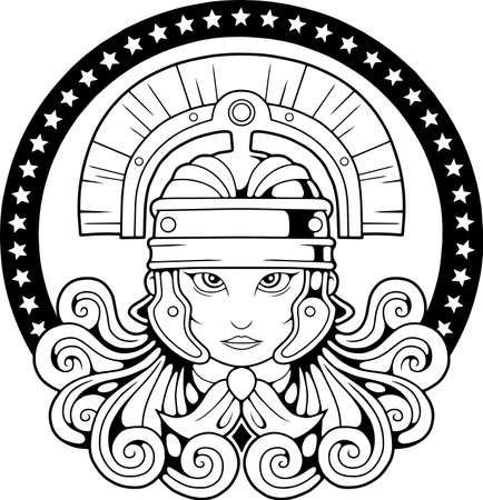 cute mythological Valkyrie in a helmet, coloring book, illustration design Vettoriali