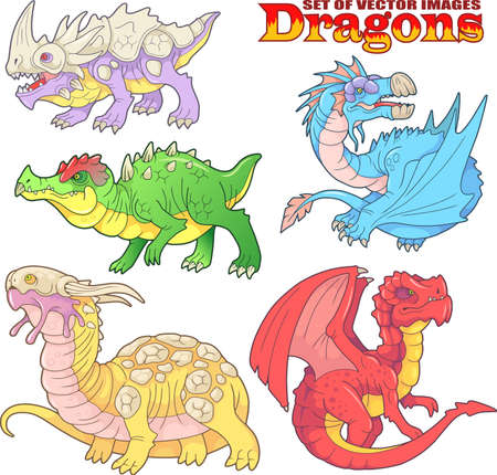 cartoon scary carnivorous dragon went hunting, funny illustration