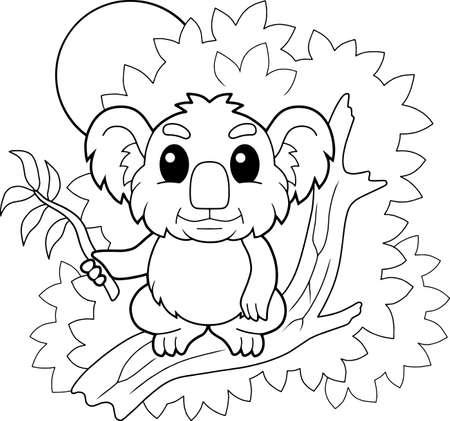 cartoon cute little koala, coloring book, funny illustration