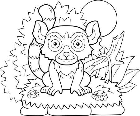 cartoon cute little lemur coloring book funny illustration