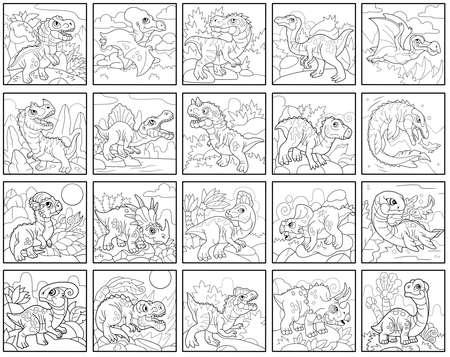 cartoon prehistoric dinosaurs, coloring book, set of funny illustrations