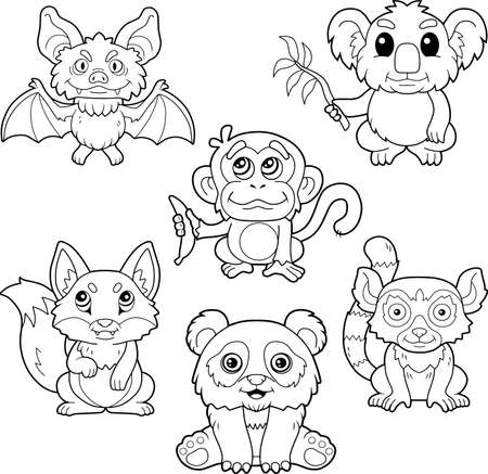 cartoon cute little animals, coloring book, image set Ilustracje wektorowe
