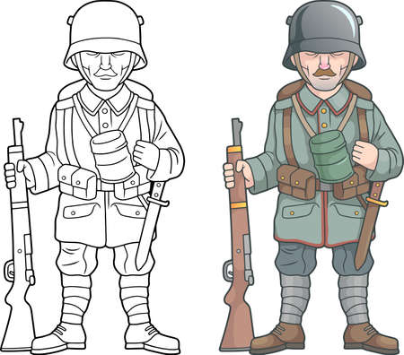 soldier of the German army during World War, coloring book