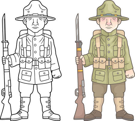 US Army soldier during World War I coloring book