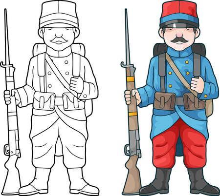 cartoon, french soldier, world war one, coloring book Ilustración de vector