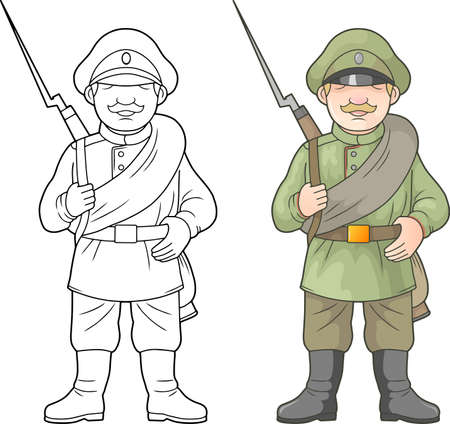 cartoon, Russian soldier, world war one, coloring book