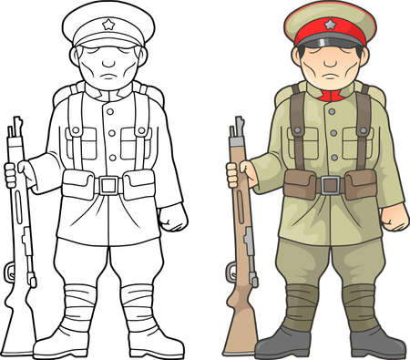 cartoon, Japanese soldier, world war one, coloring book