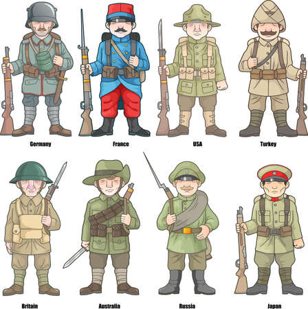 Cartoon soldiers of countries participating in the First World War, set of vector images