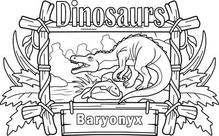 Cartoon prehistoric dinosaur baryonyx, coloring book