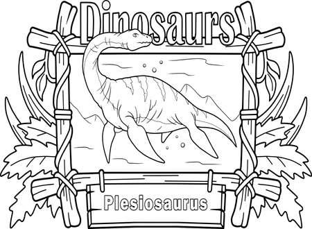Cartoon prehistoric dinosaur plesiosaurus, coloring book