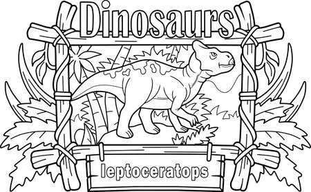 cartoon prehistoric dinosaur leptoceratops, coloring book, funny illustration
