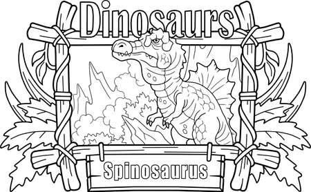 predatory prehistoric dinosaur spinosaurus coloring book funny illustration Vettoriali