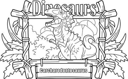 Prehistoric predatory dinosaur Carcharodontosaurus, coloring book, funny illustration