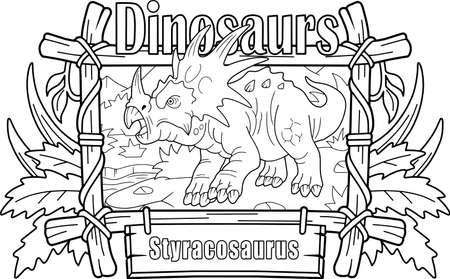 prehistoric horned dinosaur styracosaurus, coloring book, funny illustration