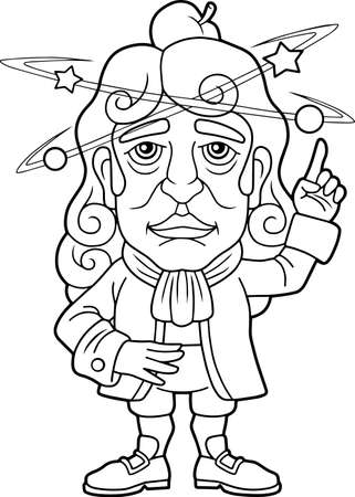 great scientist physicist Isaac Newton, coloring book, funny illustration  イラスト・ベクター素材