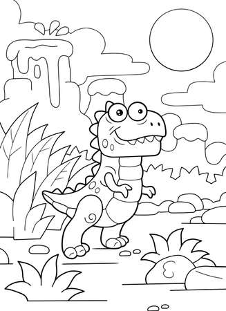 cartoon cute prehistoric dinosaur tyrannosaurus coloring book funny illustration