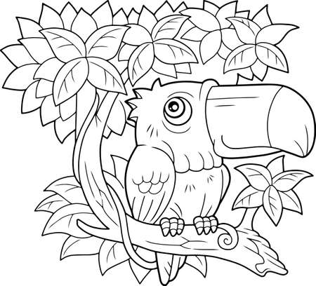 cartoon bird toucan, sitting on a branch, coloring book, funny illustration  イラスト・ベクター素材