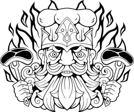 cartoon funny barbecue king, funny illustration, logo