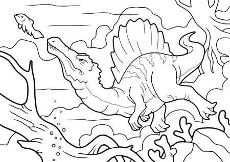predatory dinosaur spinosaurus, hunts underwater, coloring book, funny illustration